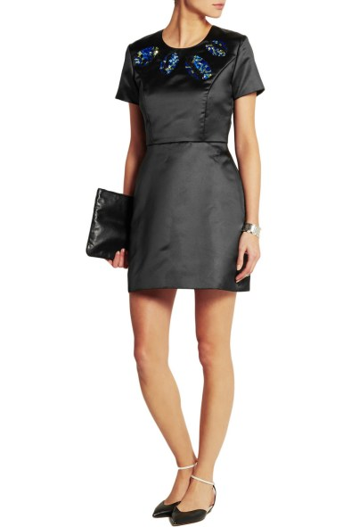 LULU & CO Sequin-embellished satin mini dress