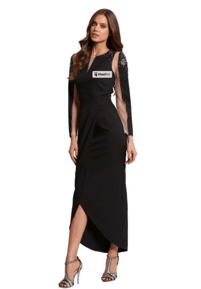 Little Mistress Black and silver mesh crossover maxi