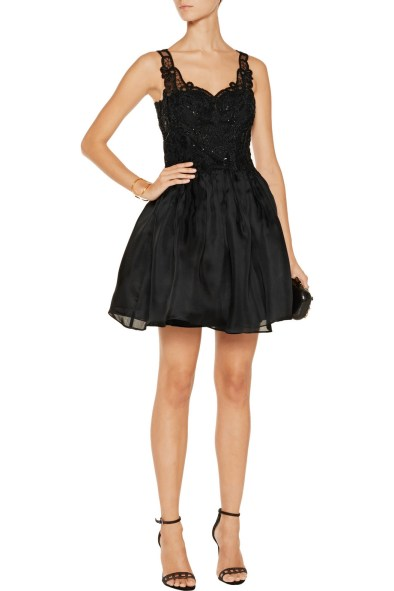 MARCHESA NOTTE Sequin-embellished silk-gazar mini dress