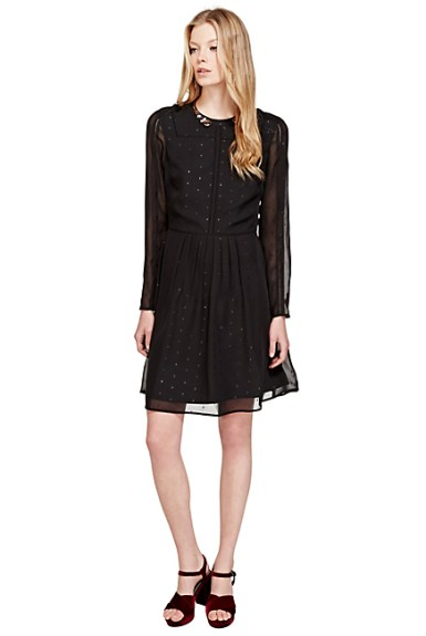 Marks and Spencer Metallic Effect Dobby Jacquard Fit & Flare Dress