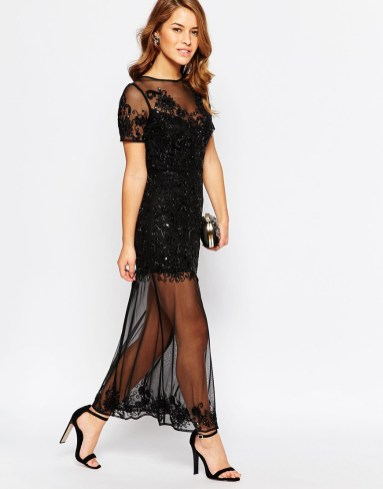 Maya Petite Sheer Embellished Maxi Dress With Keyhole Back