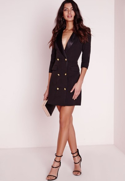 Missguided long sleeve tux dress black