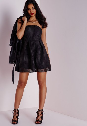 Missguided mesh strapless skater dress black