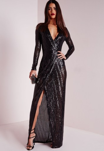 Missguided premium sequin stripe wrap maxi dress black