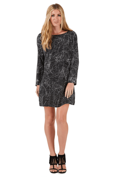 Nine by Savannah Miller Black cosmic print shift dress