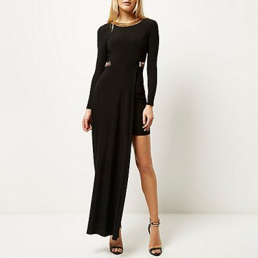 River Island Black embellished high low hem maxi dress