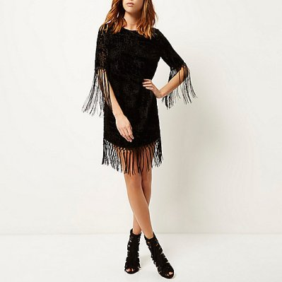 River Island Black velvet tassel t-shirt dress