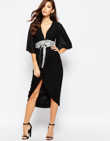 TFNC kimono Sleeve Chiffon Dress with Sequin Obi Belt