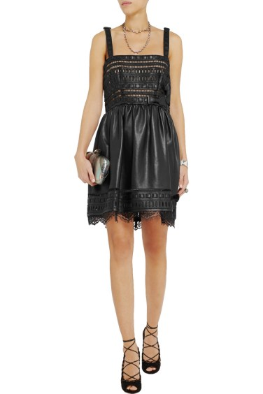 VALENTINO Cutout leather mini dress