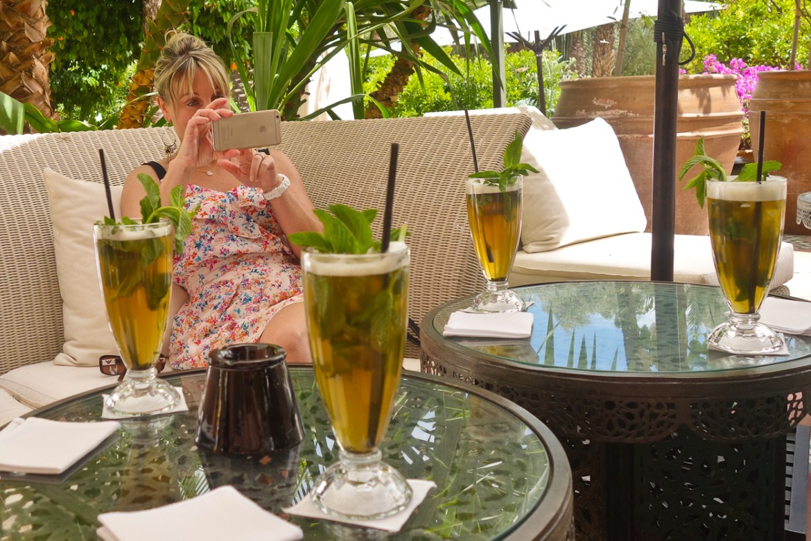 Photographing iced mint tea on the terrace at La Mamounia hotel, Marrakech
