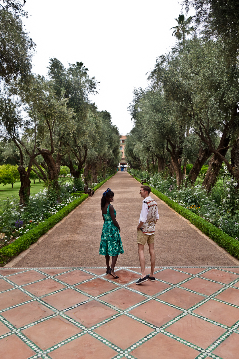 Antoine and Amah on the steps of Bar Pavilion at La Mamounia hotel, Marrakech