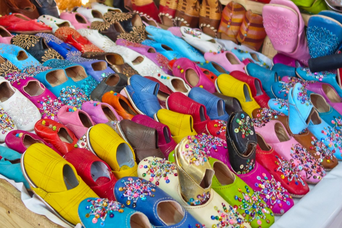 Colourful babouche slippers in the souk, Marrakech