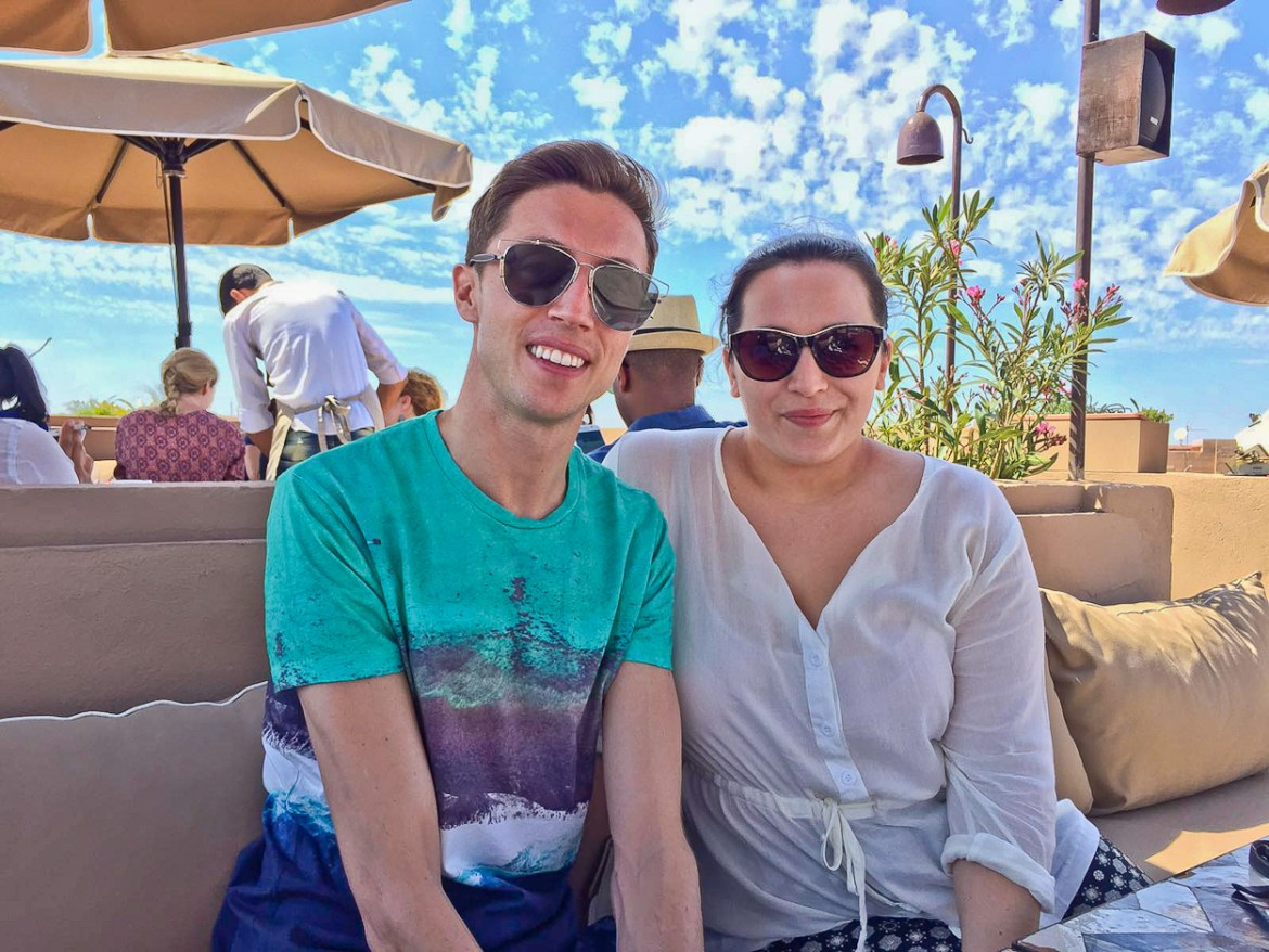 pinkschmink and Antoine on the rooftop terrace at Nomad restaurant, Marrakech