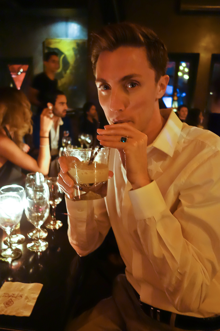 Antoine drinking a cocktail at Comptoir Darna, Marrakech
