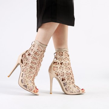 Public Desire REILLY LASER CUT HIGH HEELS IN NUDE