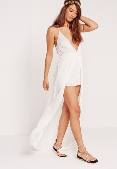 missguided cheesecloth skirt overlay playsuit white