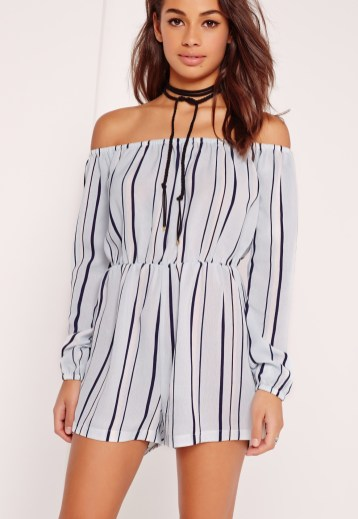 missguided striped bardot playsuit powder blue