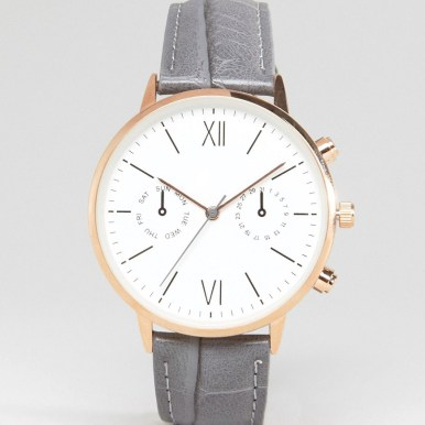 ASOS Large Face Croc Strap Watch With Rose Gold Detail