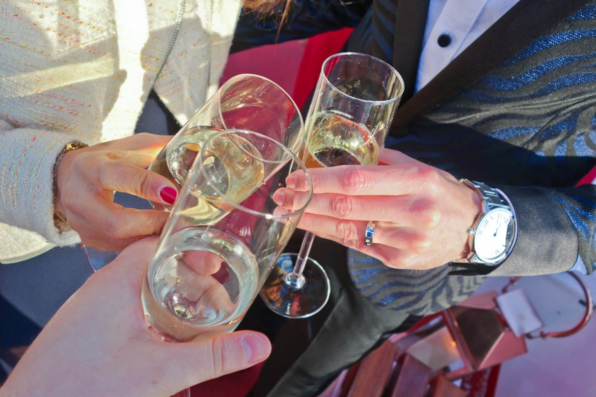 A toast to the newly-married groom Antoine
