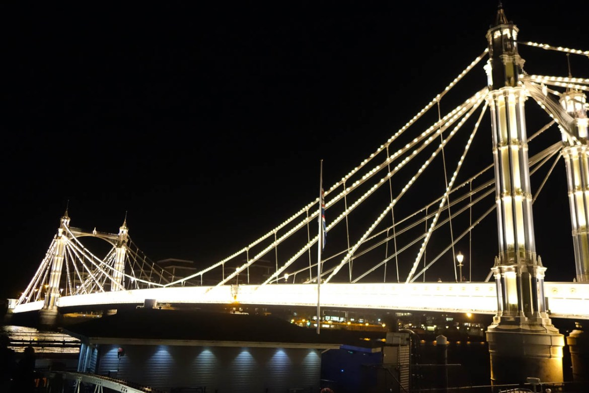 Albert Bridge at night, Chelsea, London