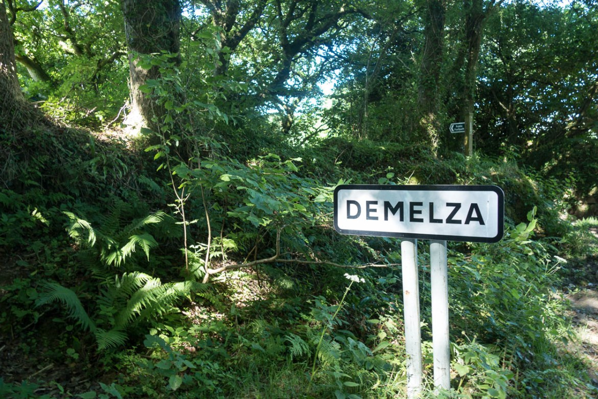 Road sign marking Demelza hamlet, Cornwall