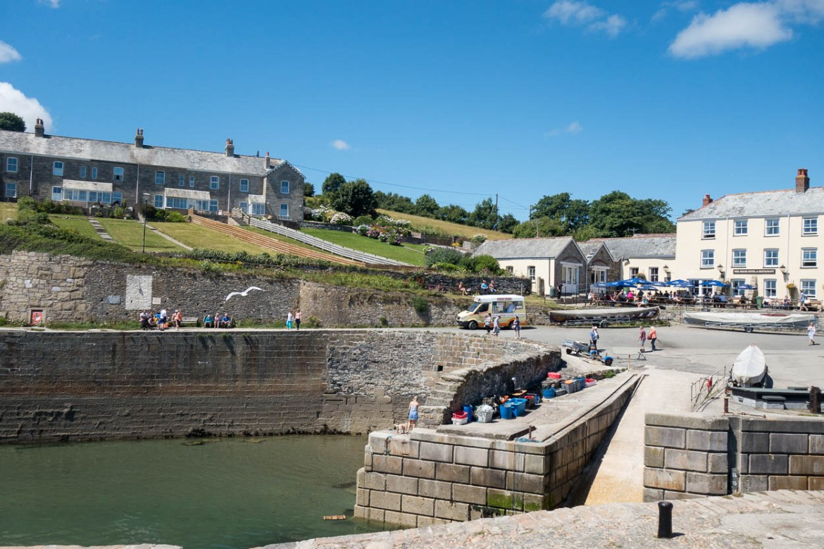 View across the harbour to cottages at Charlestown, Cornwall