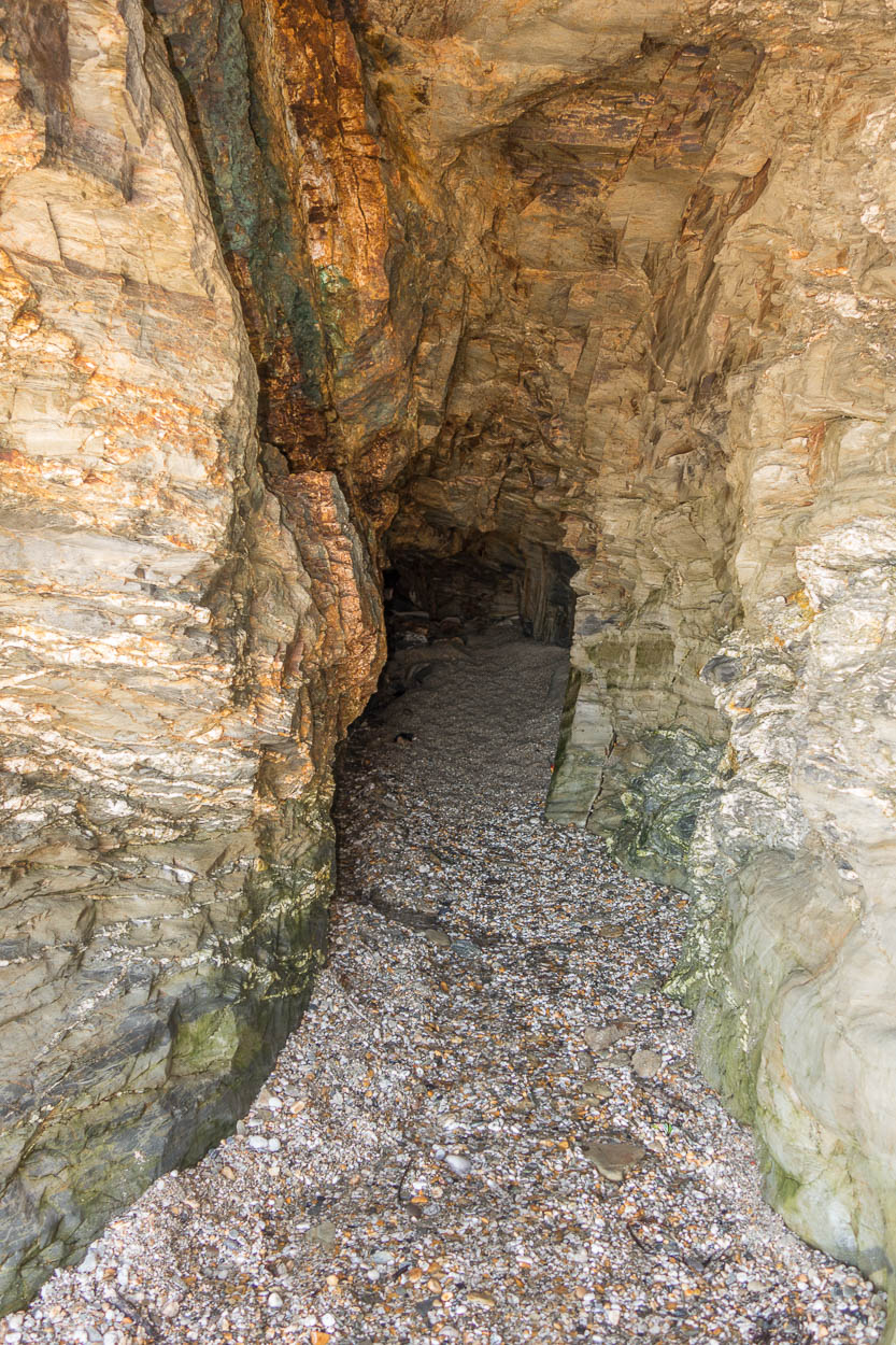 Cave on Charlestown beach, Cornwall