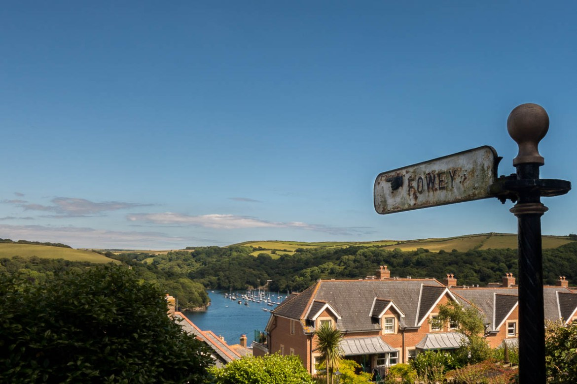 Sign pointing to Fowey, Cornwall