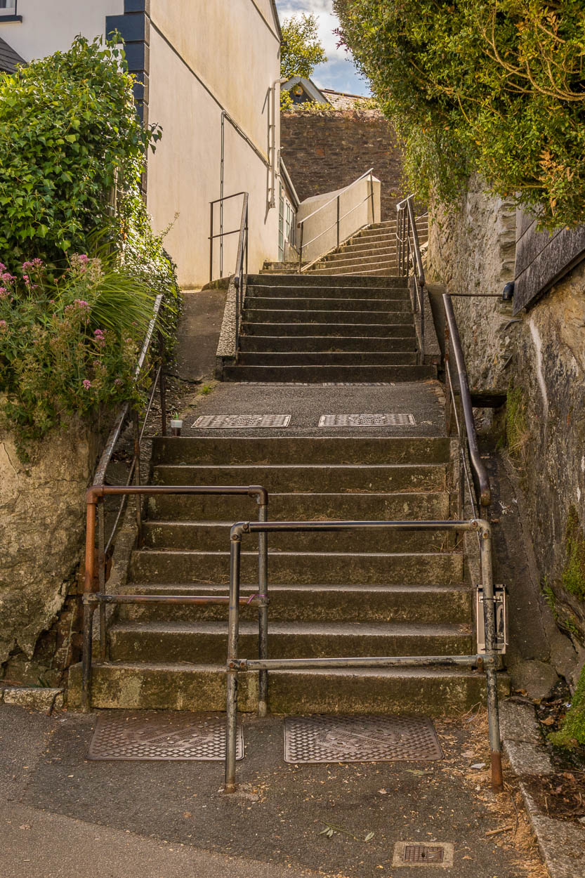 Steps into town at Fowey, Cornwall