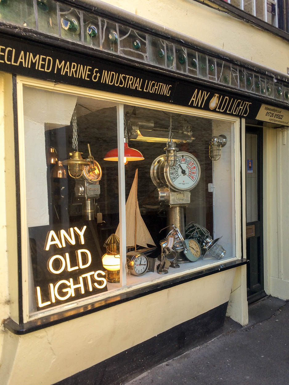 Any Old Lights shop in Fowey, Cornwall