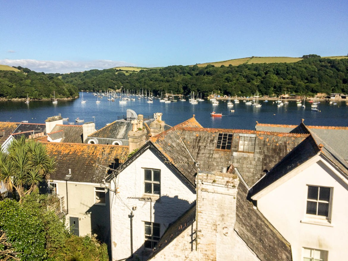View of Fowey harbour over the rooftops, Cornwall