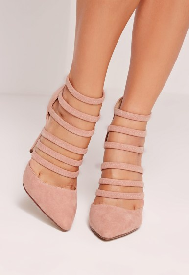 Missguided elastic strap court shoes rose pink
