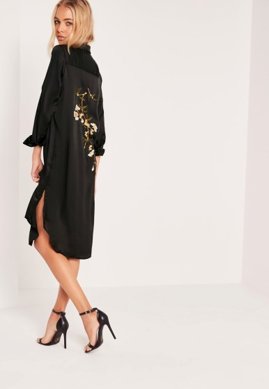Missguided embroidery back shirt dress black