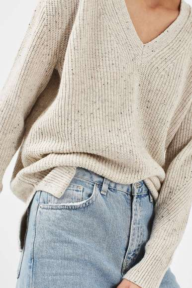 Topshop Fisherman Rib Nep V-Neck Jumper