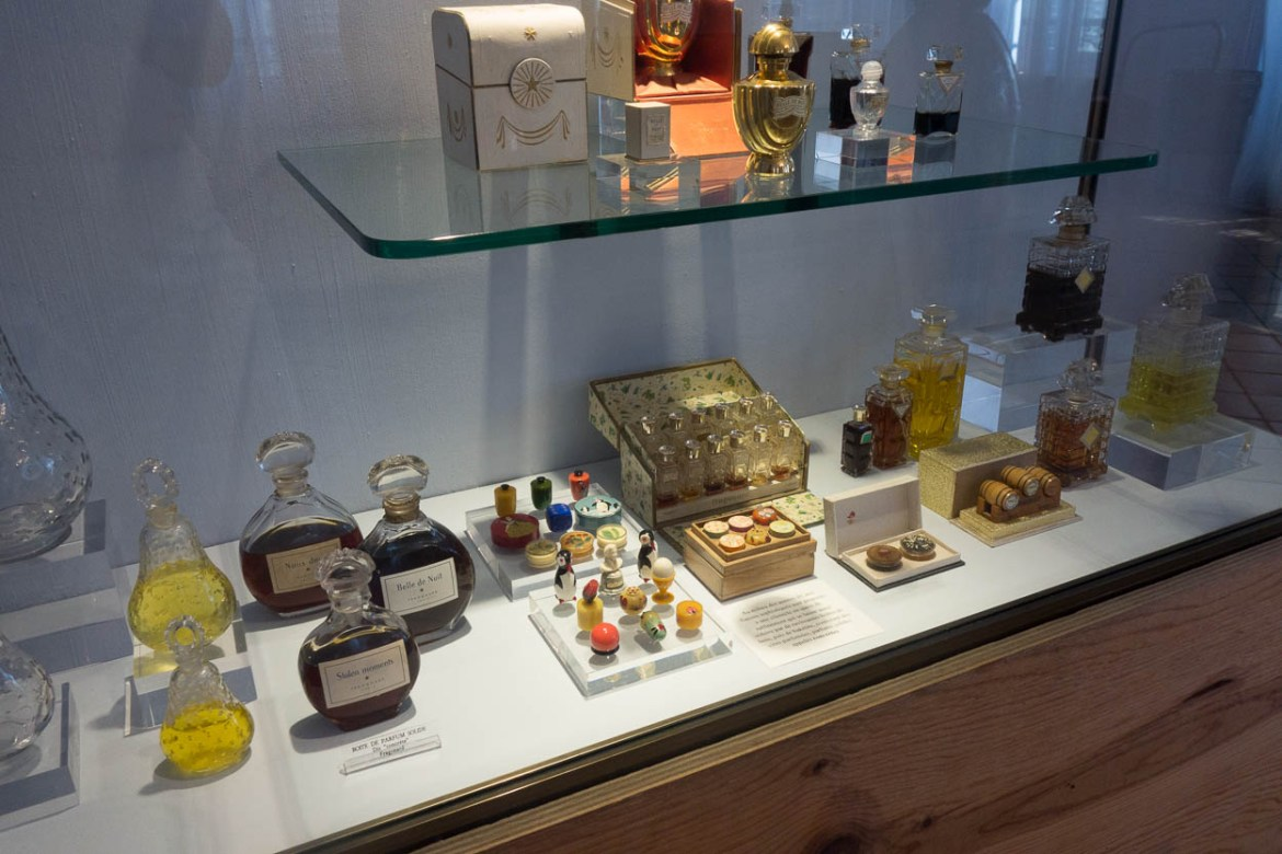 Vintage Fragonard perfume bottles at the museum in Grasse