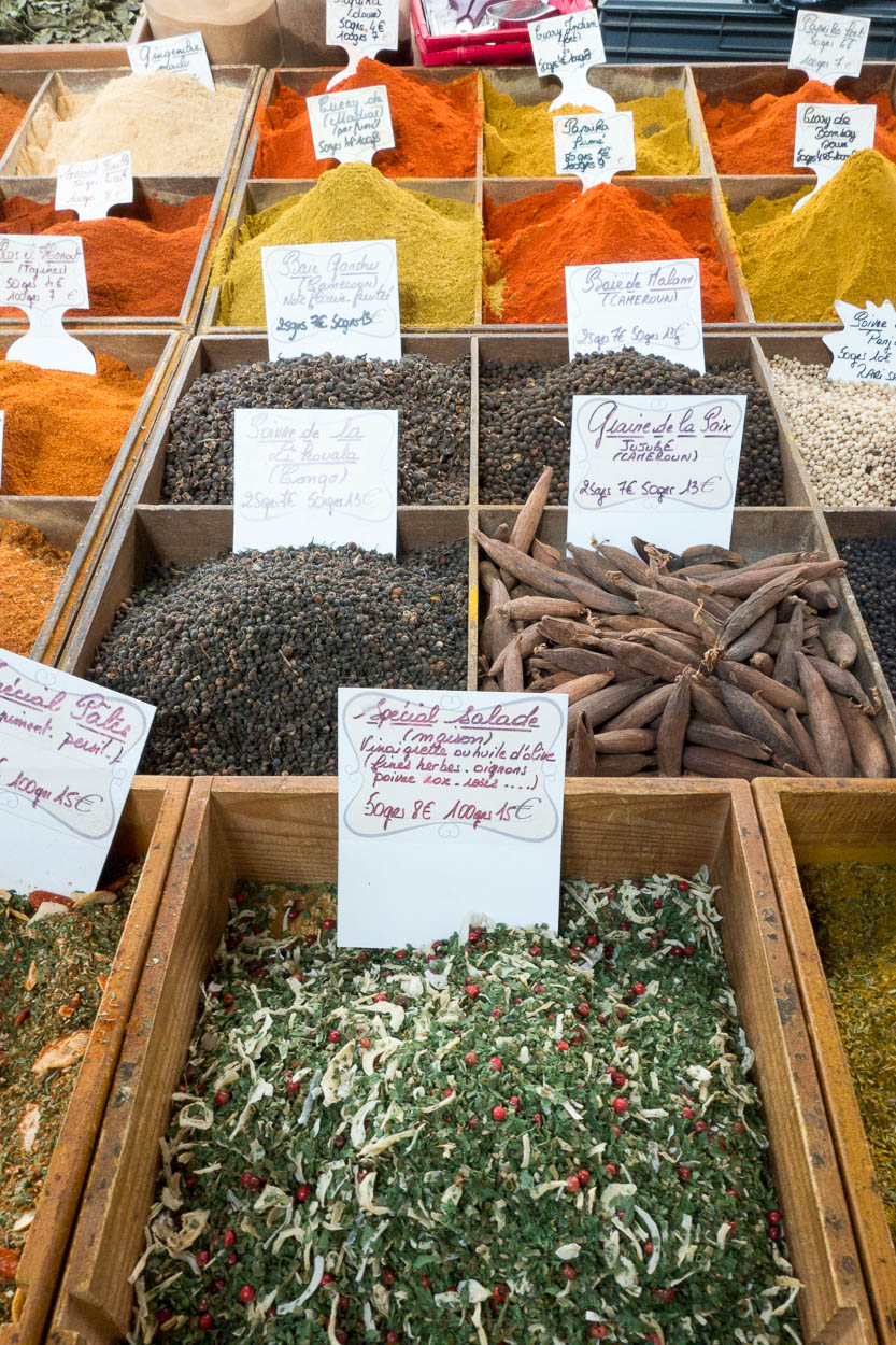 Herbs and spices for sale in the market at Antibes