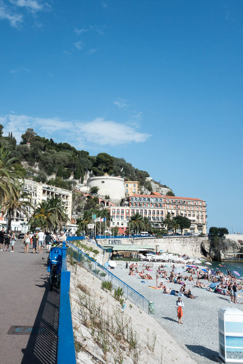 Looking along the beach at Nice towards Castle Hill