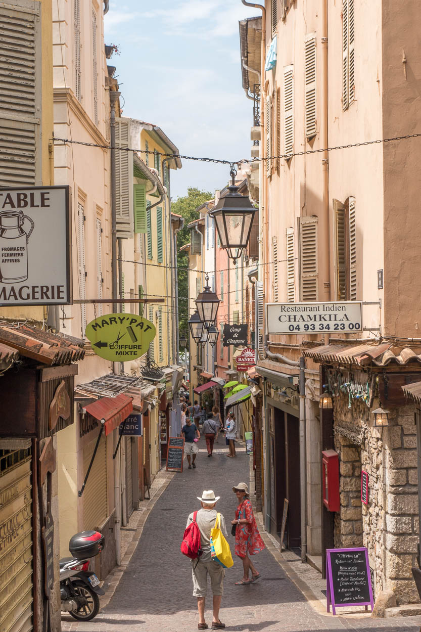 Shopping street in old Antibes