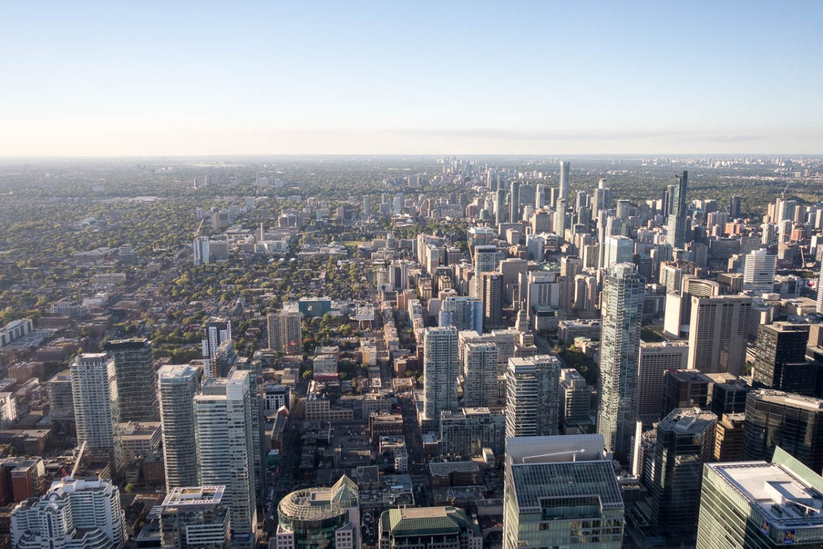 View of Toronto from the CN Tower observation deck