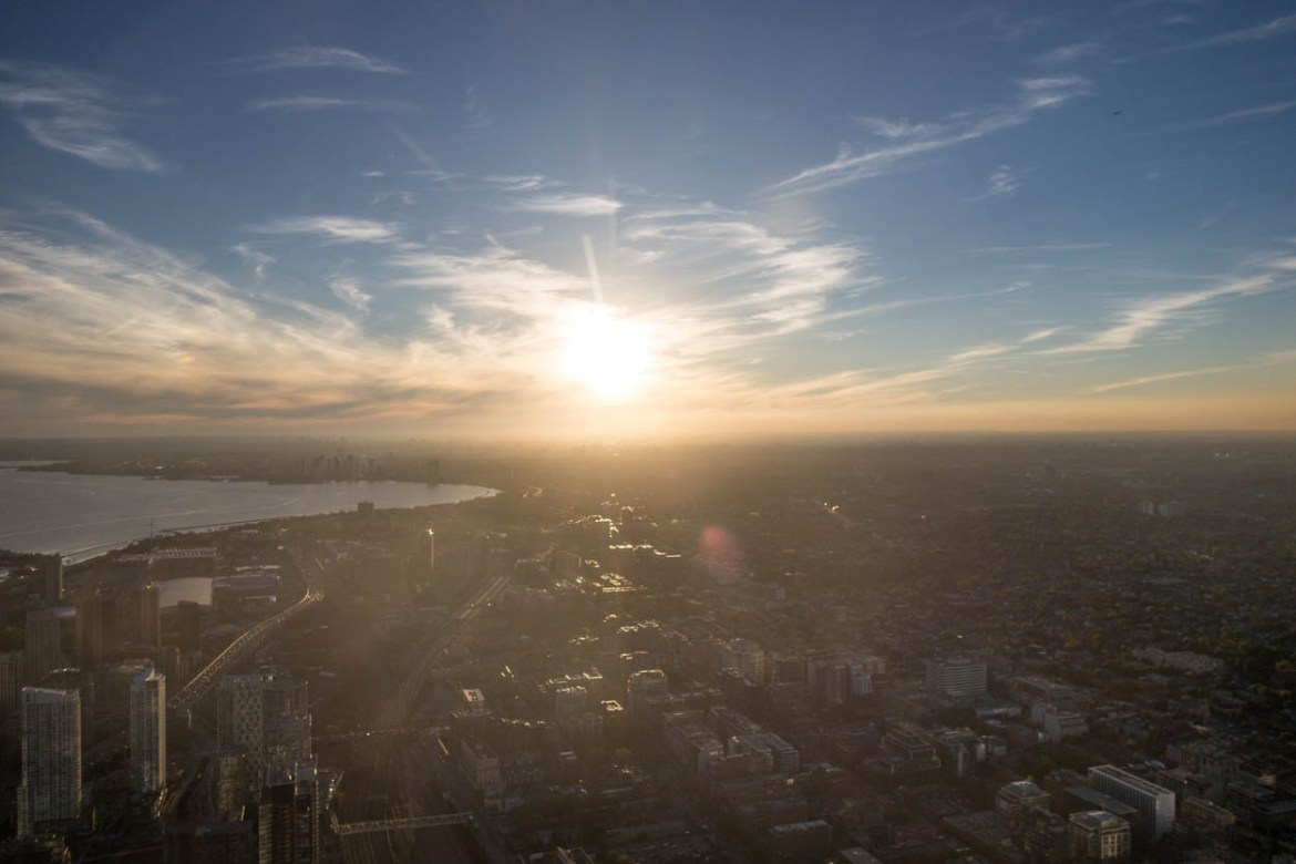 Sunset over Toronto as seen from the CN Tower