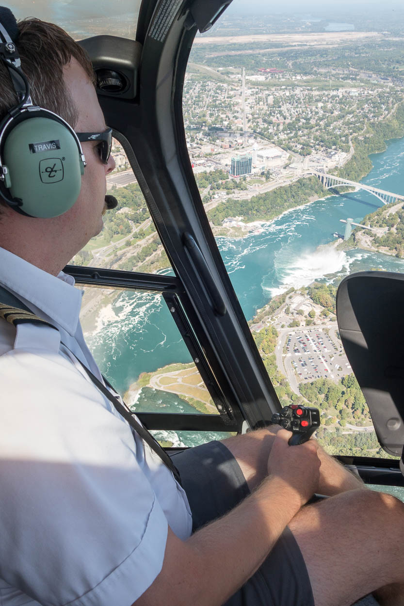 Helicopter pilot over the Niagara Falls