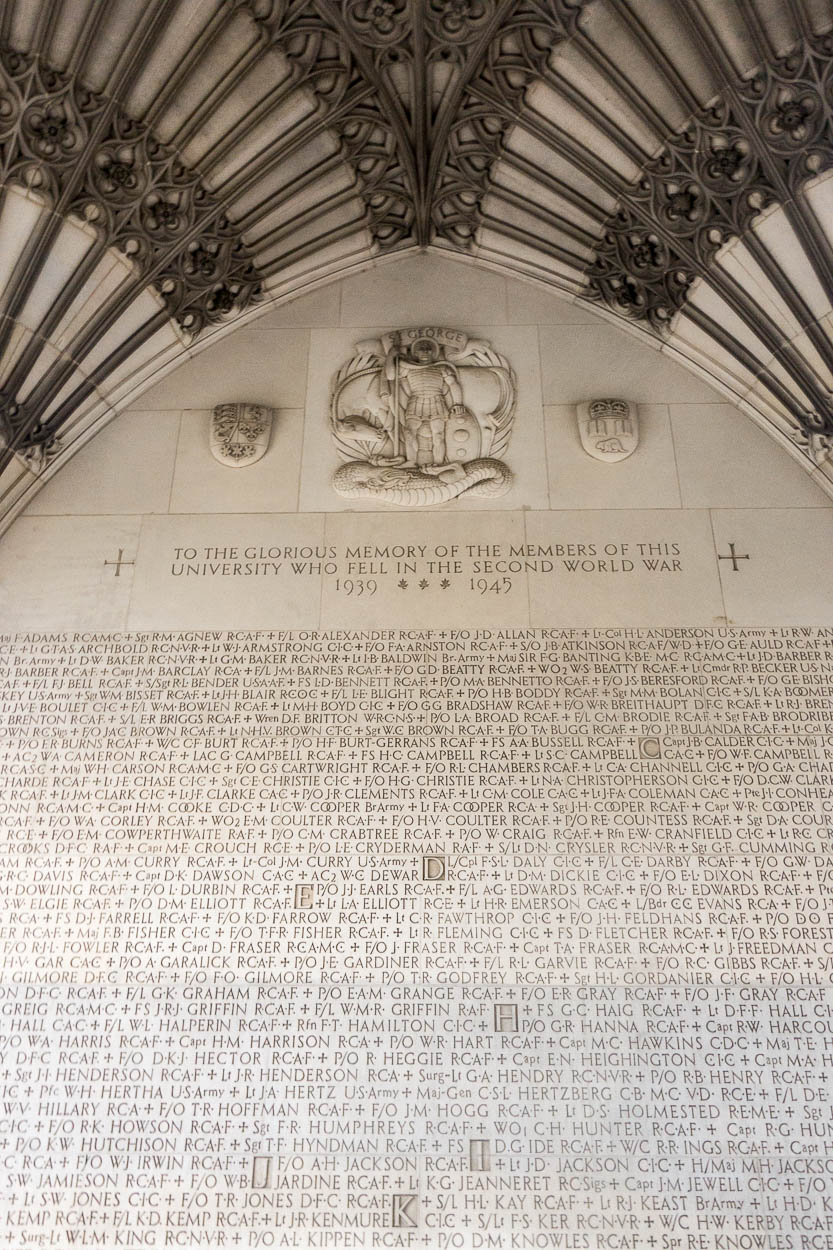 War memorial inside the clocktower, University of Toronto