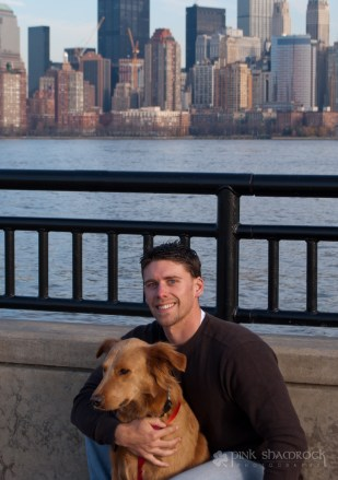 """""""Lucky in NYC"""" - Lucky and Roger in front of the NYC skyline."""