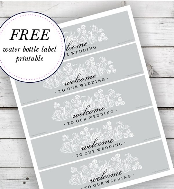 Free Water Bottle Label Printable Design courtesy of Pink Spruce Photography