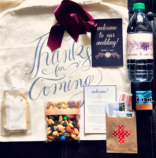 wedding welcome bag essentials + free water bottle label printable
