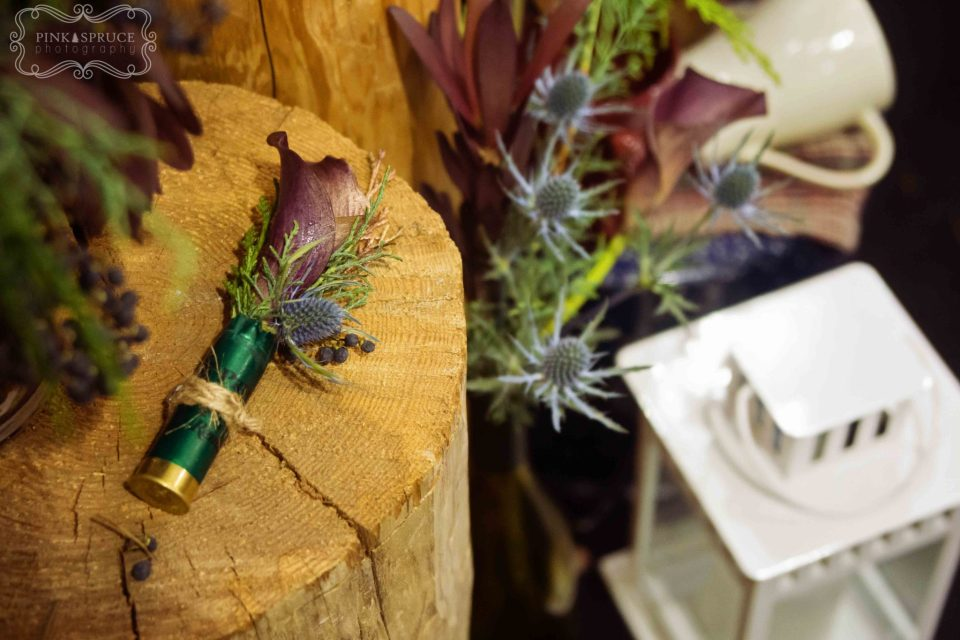 Shot Gun Shell Boutionneire for Outdoorsman Wedding · Simply Glamorous Designs at Oregon Floral