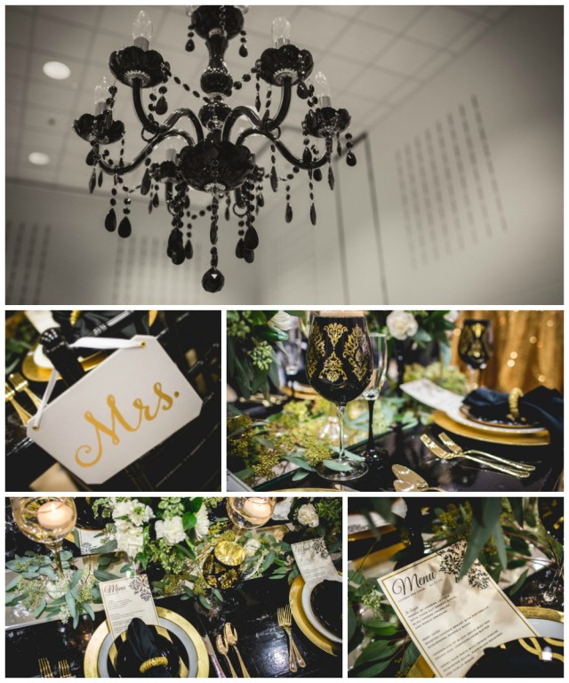 Sophisticated Black, White, and Gold Wedding Theme | Seen at the La Crosse Bridal Expo | Pink Spruce Photography