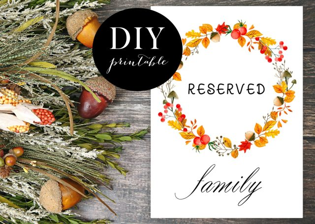 Fall Wreath Reserved Signs - DIY Printable File