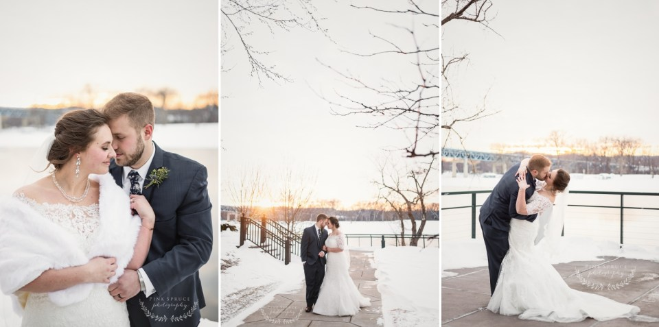 Romantic Pink and Navy Winter Wedding at The Cargill Room in The Waterfront Restaurant La Crosse, WI   © Pink Spruce Photography   www.pinksprucephotography.com
