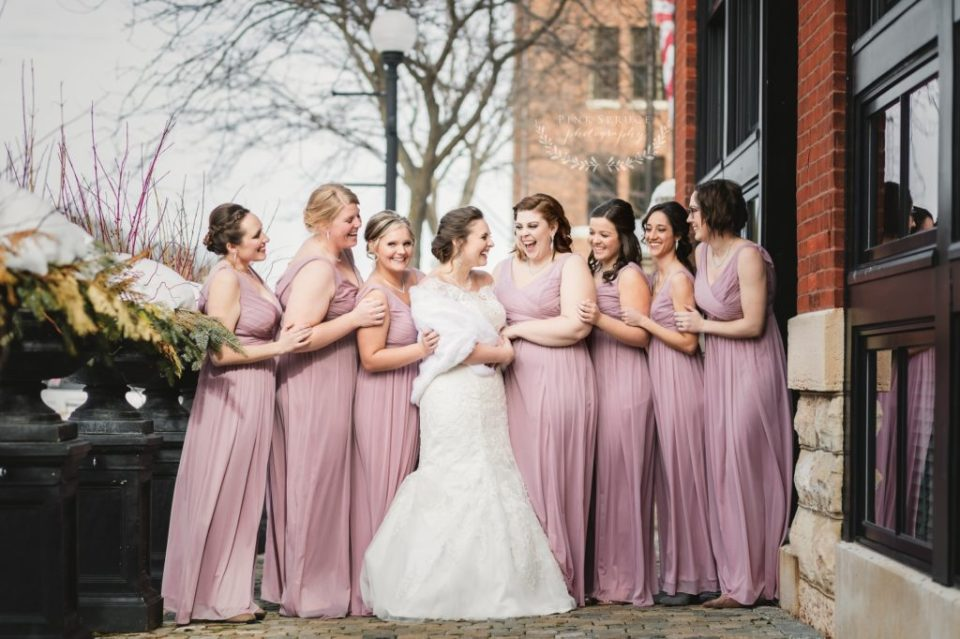 Romantic Pink and Navy Winter Wedding at The Cargill Room in The Waterfront Restaurant La Crosse, WI | © Pink Spruce Photography | www.pinksprucephotography.com